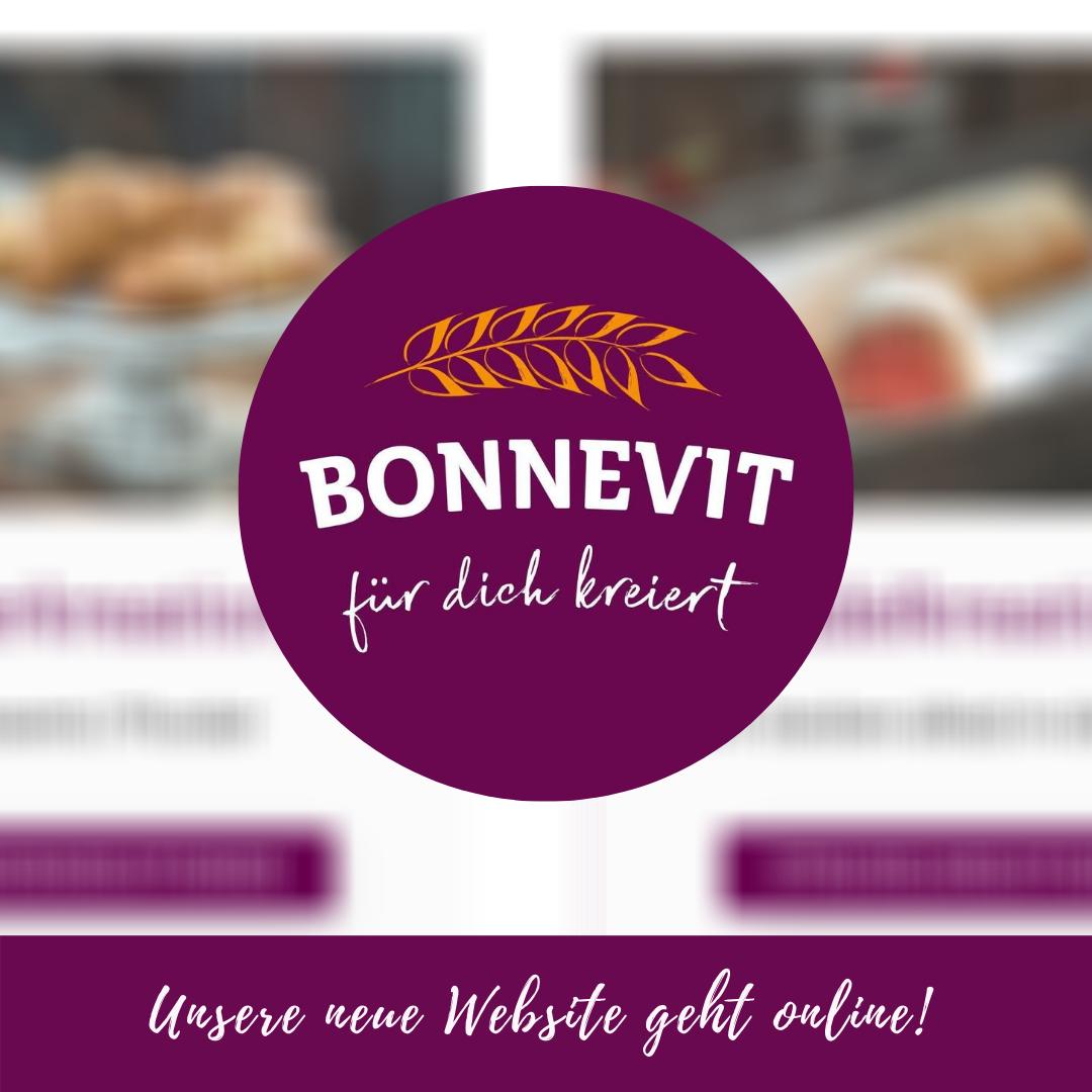 Logo Bonnevit im Hintergrund die neue Homepage